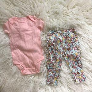 Floral pants and Onesie set
